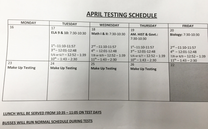 Students begin state tests this week